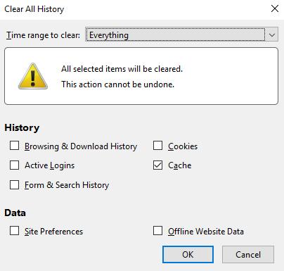 پنل تنظیمات مربوط به کش مرورگر